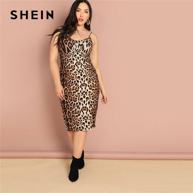 Шеин плюс размеры Леопардовый принт без рукавов Bodycon Платье комбинация Лето Спагетти ремень для женщин пикантные на выход карандаш