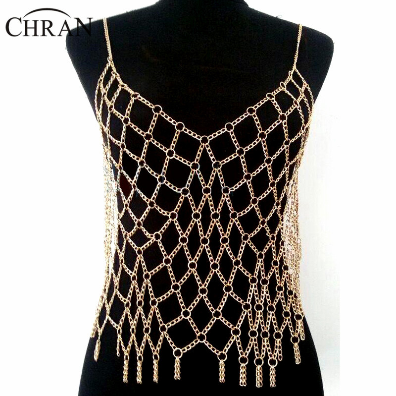 ee7e437d1df99e Chran Sexy Full Beach Chain Wear Harness Silver Gold Color Europe Mesh Top  Bralette Harness Necklace Belly Dancer Dress Jewelry