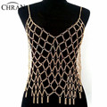 Chran Sexy Full Body Chain Harness Silver Gold Color Europe Mesh Bikini Chain 2016 Bib Necklace Belly Dancer Dress Jewelry