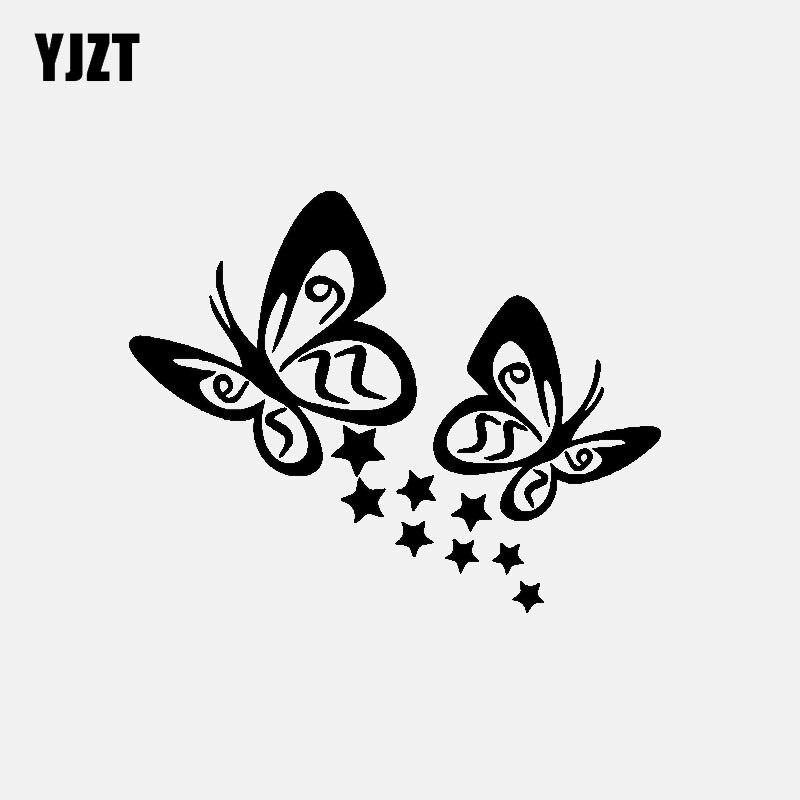 YJZT 14CM*11.1CM  BUTTERFLY And Stars Vinyl Car Sticker Decals Black/Silver C3-0712