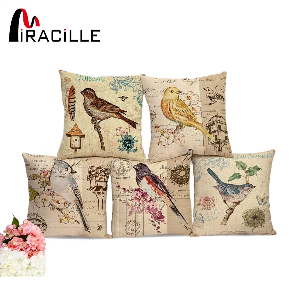 Miracille European Vintage Birds Printed Decorative Sofa Throw Cushion Pillows Outdoor Garden Chair Cushion Decor No Filling