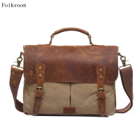 Foikvoon Men Vintage Messenger Bag Fashion All Match Messenger Bag Brand Man Popular Casual Men's Handbag Business Bag