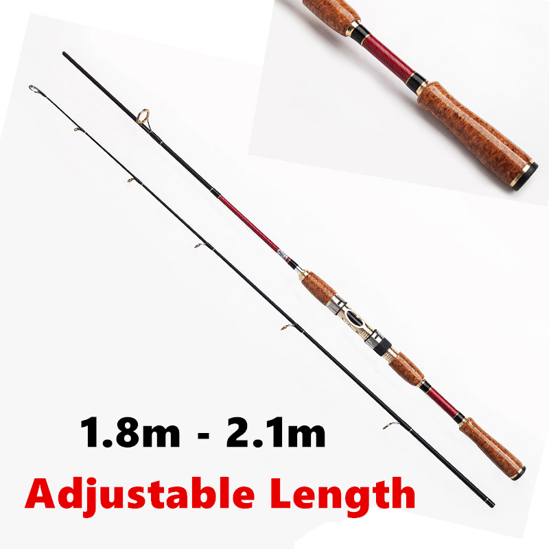 2016 New Design 1.8m - 2.1m Adjustable Carbon Spinning Fishing Rod 2 Section Canne Spinning