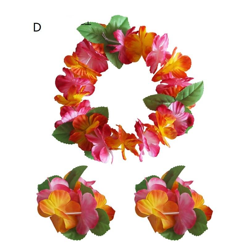 Визуальный сенсорный набор оголовья цветок венок гирлянда браслеты юбки «хула» Гавайский пляж Декор джунгли вечерние принадлежности - Цвет: D