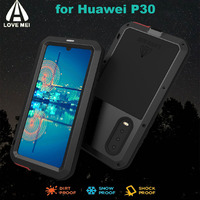 for Huawei P30 Shockproof Case LOVEMEI Powerful Metal Cases Luxury Aluminum Life Waterproof Cover +Tempered Glass for Huawey P30