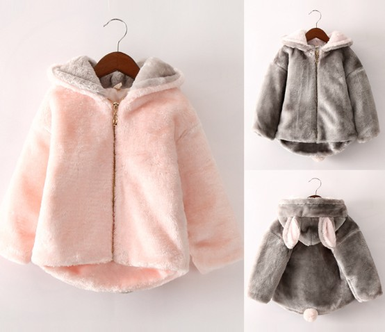 2016 winter warm girls faux fur cartoon cotton-padded coat 1pc fashion with hood kids jacket