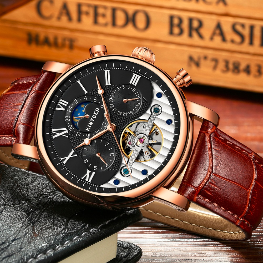 KINYUED Fashion Tourbillon Skeleton Watch Men Sport Luxury Brand Mens Automatic Mechanical Watches Calendar relogio masculino