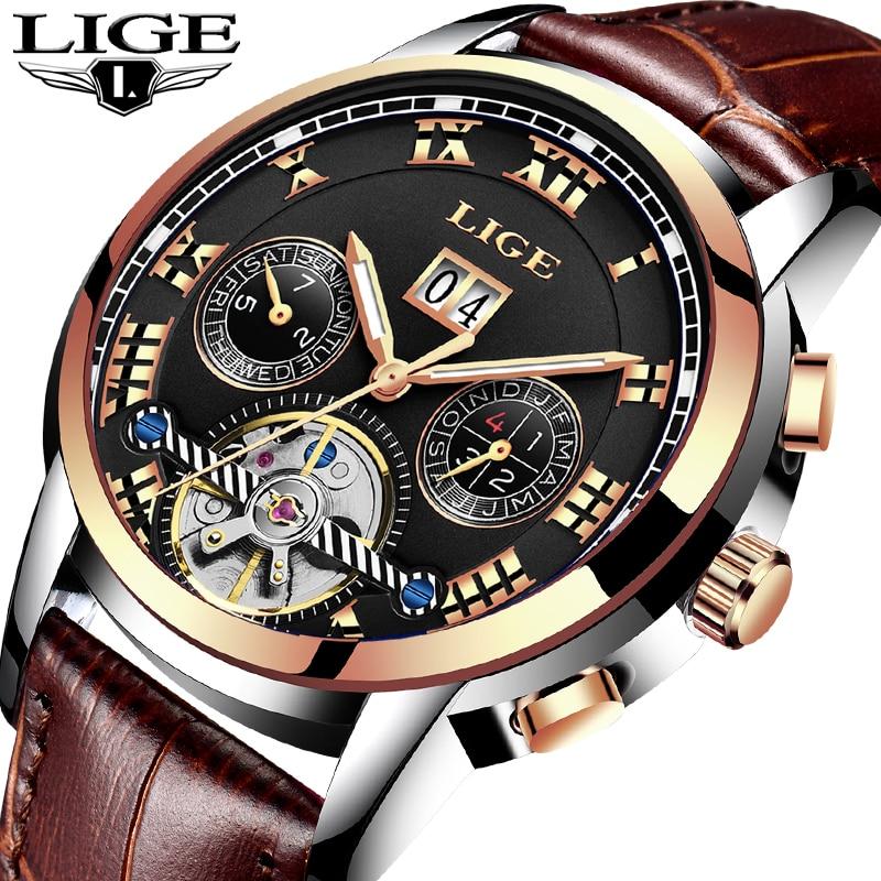 Męskie WatchTop Luxuy marki LIGE Męskie mechaniczne zegarki - Męskie zegarki - Zdjęcie 1