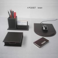 KST 4 Teile/satz büro hölzerne leder büro veranstalter hinweis stifthalter schreibtisch veranstalter satz mauspad K224B-in Schreibtisch-Set aus Büro- und Schulmaterial bei