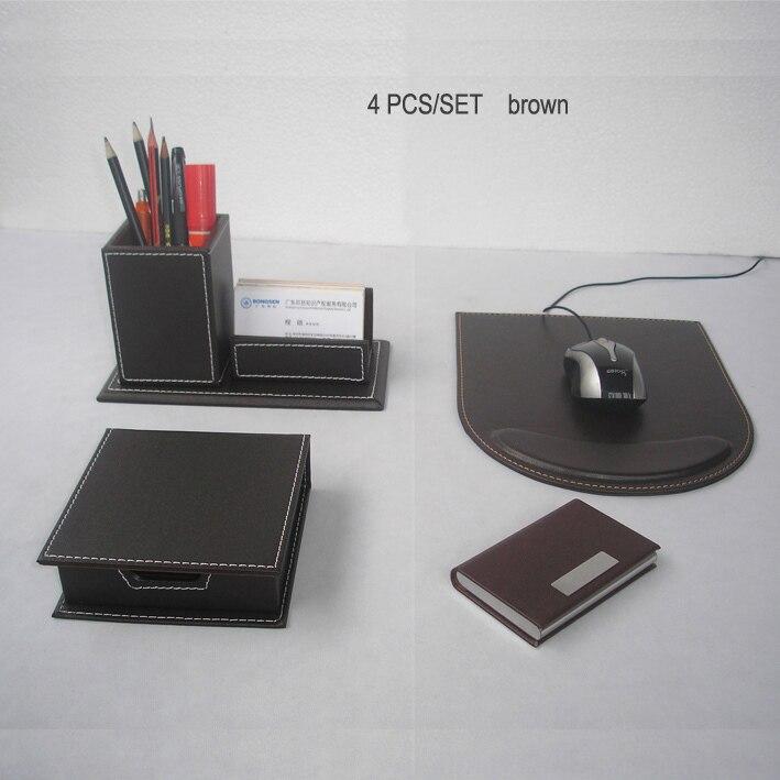 KST 4 pièces/ensemble bureau en bois en cuir bureau papeterie organisateur note porte-stylo porte-crayon organisateur de bureau ensemble tapis de souris K224B