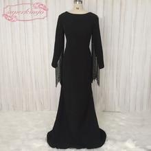 SuperKimJo Arabisch Muslimischen Abendkleid Dubai 2017 Schwarz Mermaid Elegante Perlen Abendkleider Langarm Formales Kleid
