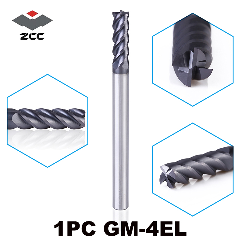 1PC ZCC.CT GM-4EL D3.0-D20.0 Solid Carbide 4 Flute  Long Cutting Edge End Mills Tungsten Carbide Rotary Tools Milling Cutters