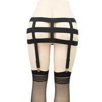 Women Waist Caged Skirts Gothic Harajuku Garter Belt 4 Clips Stockings Garter Skirt Body Bondage Harness