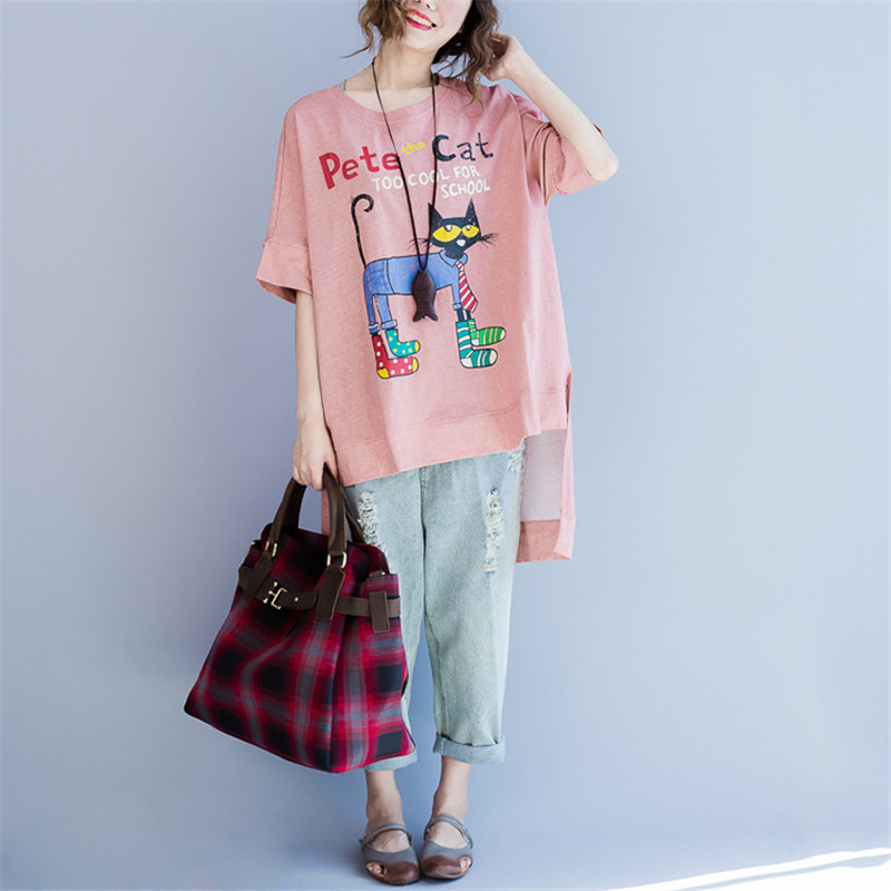 Buy Oversize Summer Women Cotton Top Colorful Cat Letter Printed Female Irregular Tee Shirt Short Sleeve Pink Blue Fashion T-Shirt for $14.99 in AliExpress store