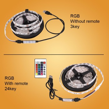 DC 5V LED Strip USB Cable Power Lâmpada de luz flexível 50CM 1M 2M 3M 4M 5M SMD 2835 Mini 3Key Desk Decor TV Background Lighting 1