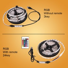 DC 5V LED Strip USB Cable Power Flexible Light Lamp 50CM 1M 2M 3M 4M 5M SMD 2835 Mini 3Key Desk Decor TV Background Lighting