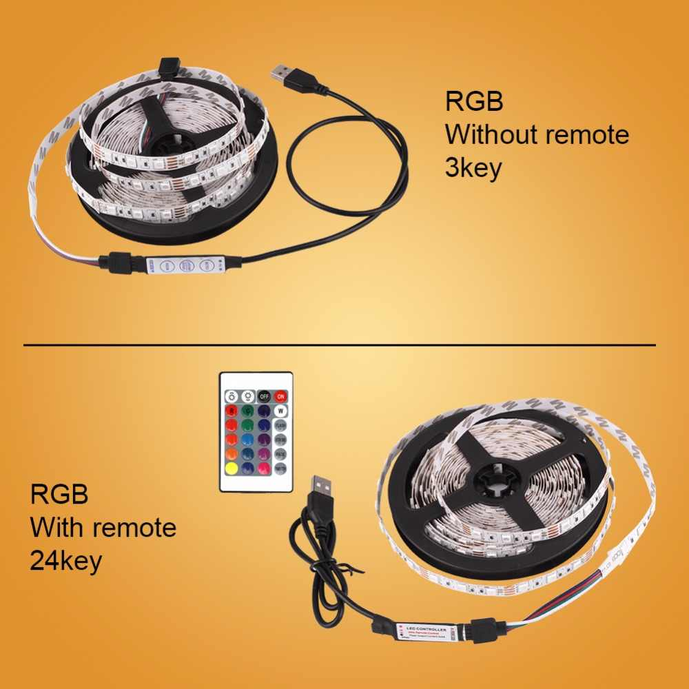 DC 5V LED şerit USB kablosu güç esnek işık lambası 50CM 1M 2M 3M 4M 5 M SMD 2835 Mini 3Key masa dekoru TV arka plan aydınlatması