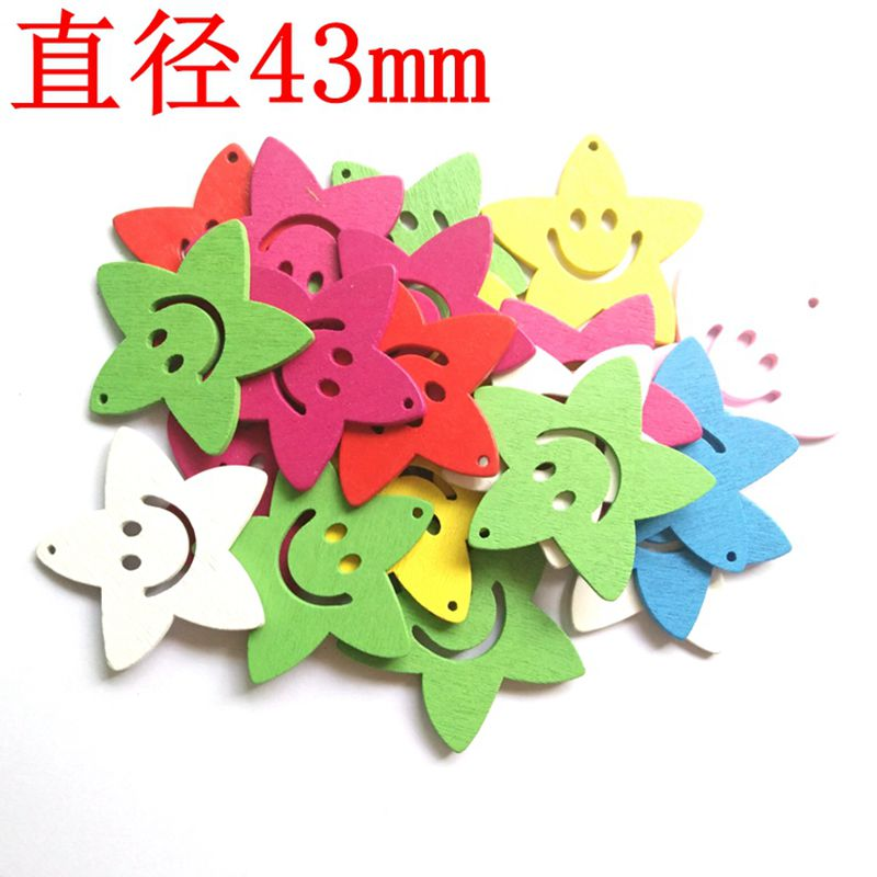 Colorful Smile Star pendant DIY for Christmas Wedding Home Party Decoration Wooden Craft Size 43mm 100pcs/lot 017027006