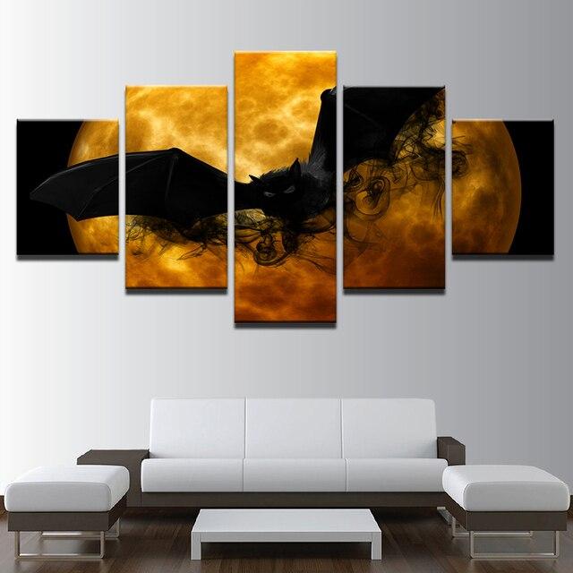 US $5.97 40% di SCONTO|Stampe Su tela Poster Soggiorno Wall Art 5 Pezzi  Dipinti Pazzo Halloween Pipistrello Nero Arancione Luna Astratta Pictures  Home ...
