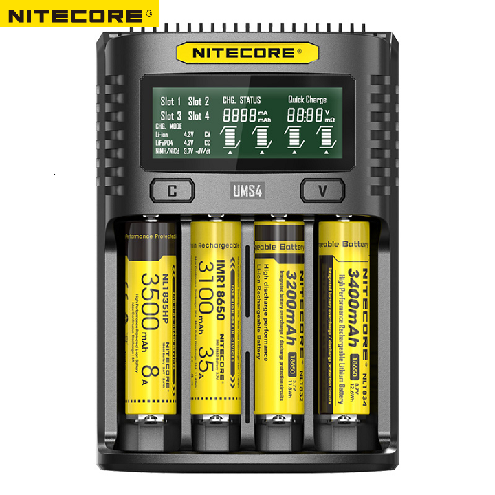 NITECORE UMS4 Intelligent Four - Slot QC Fast Charging 4A Large Current Multi - Compatible USB Charger