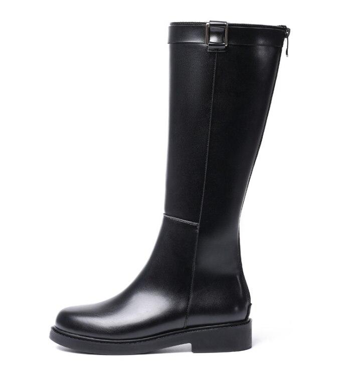 HUANQIU Deri Çizmeler bayan botları 2018 yeni moda sonbahar/kış yüksek çizmeler artı kadife artırmak çizmeler Büyük Boy 34 -41 ZLL640