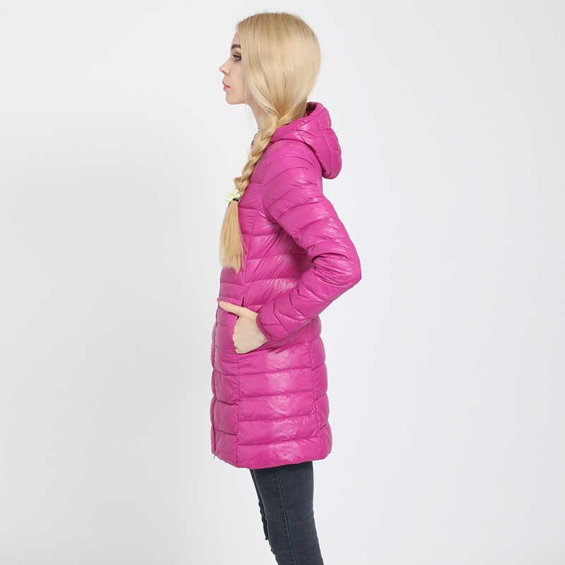 COMLESS/женская Повседневная Сверхлегкая куртка-пуховик большого размера 4XL-6XL с 90% пухом, 10% пером, на молнии, женские демисезонные куртки с капюшоном