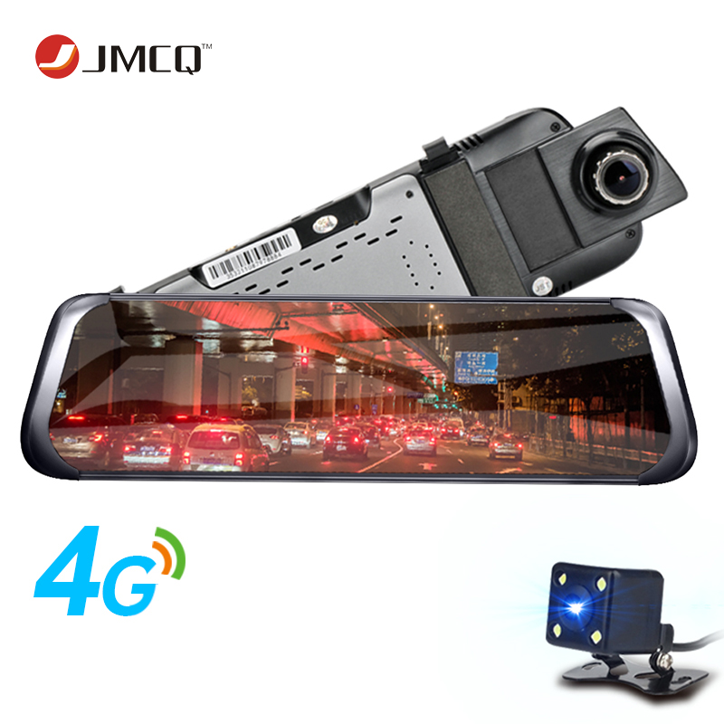 JMCQ 3G 4G WIFI Smart Car DVR 10 Touch Screen Android Stream Media Front Rear View Mirror Dual Lens reversing image GPS ADAS