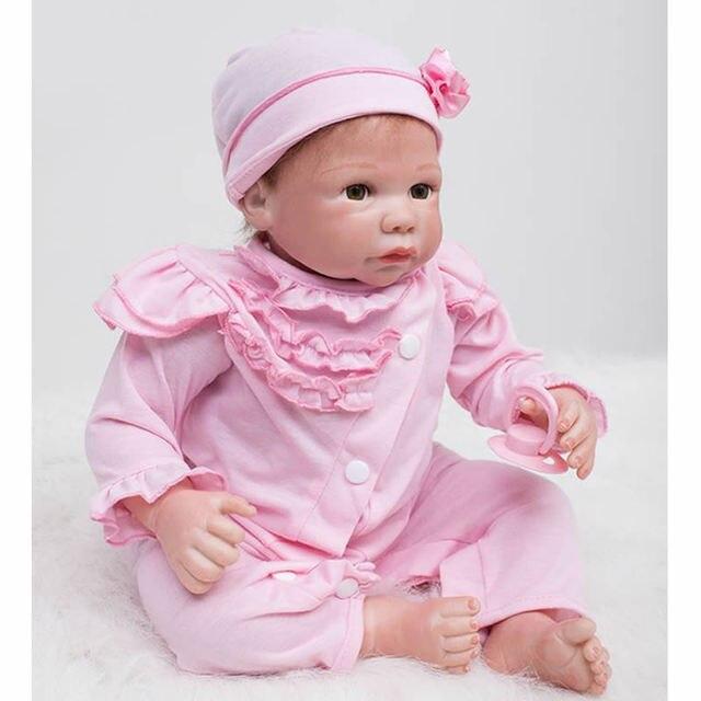 6ec7f370e4eb9 Magnétique Bouche Reborn Bébé Fille 20 pouce Nouveau-Né Bébés de Silicone  Poupée Jouet Réaliste