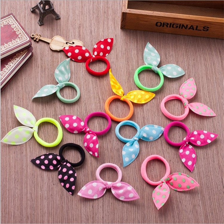 10Pcs/lot Cute Dot Bow Rabbit Ears Headband Girls Ring Scrunchy Kids Ponytail Holder Hair Accessories For Children Hair Bands