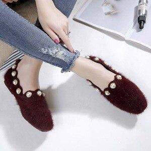 Image 1 - Plus Size Shoes Woman Mink Fur Flats Low Heels Pearl Shoes Ladies Loafers Pointed Toe Moccasins Fur Espadrilles Size 40/42/43