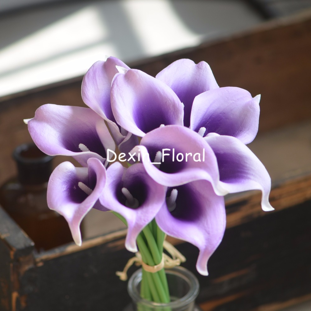 Teal Purple Picasso Calla Lilies Real Touch Flowers For Silk Wedding ...