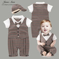 Gentlemen costume for baby hat+romper infant short sleeve summer paid  bow tie clothing toddler wedding party birthday outfits