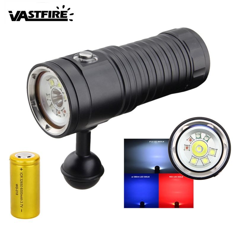 Led Flashlights Xm L2 Lampe Torche Underwater Worklight Professional Scuba Diving Flashlight 100m Waterproof Torch Flashlights Built-in Battery Cheap Sales Led Lighting