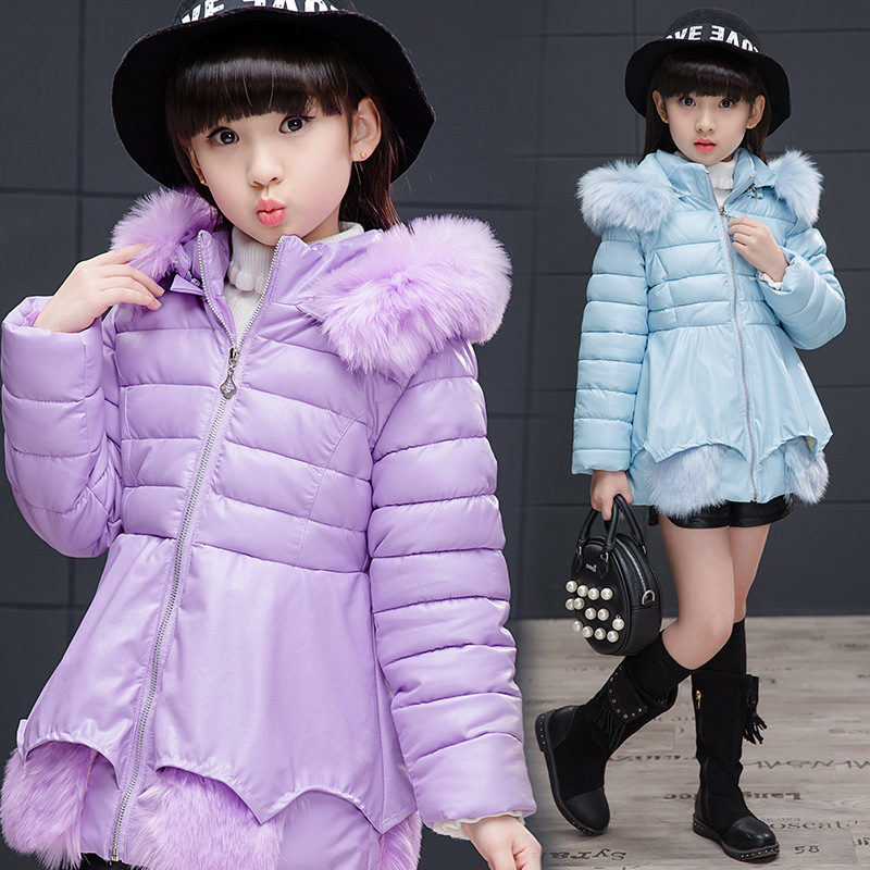 2017 Winter Girls Jackets For Girls Down Coats Kids Children Outerwear Coat Teenagers Jacket Girls with PU Clothes 4-13 Year kids winter jackets girls coats with hood waterproof girls coat autumn outerwear windbreaker pink children clothes 11 12years