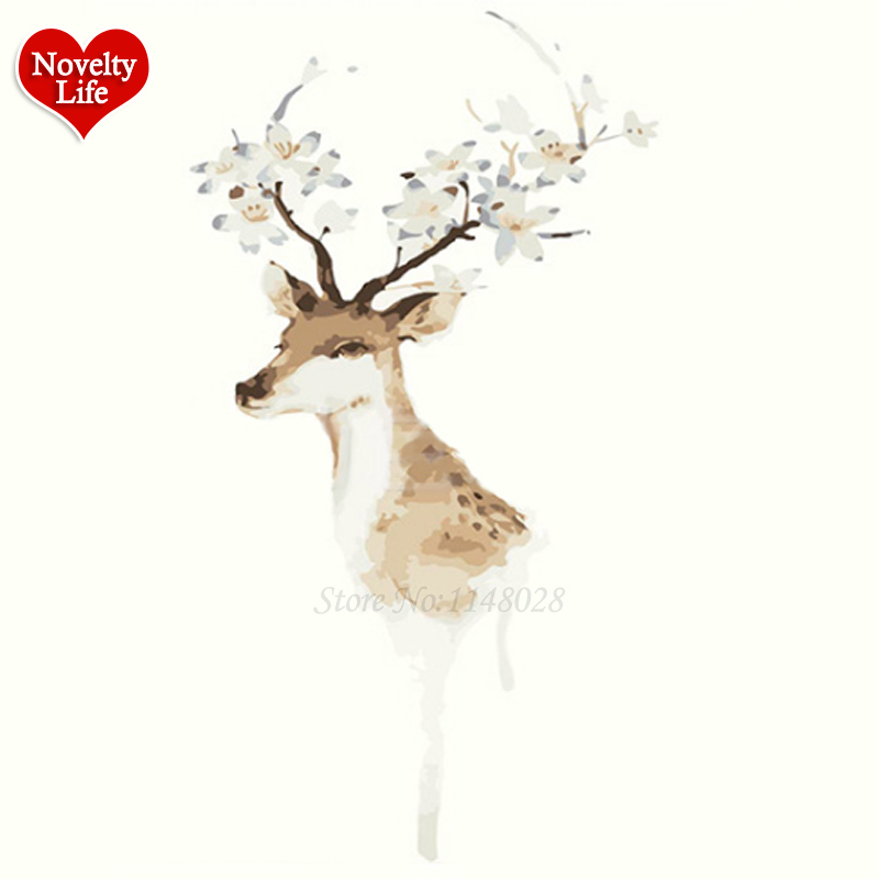 New Frame Diy Painting by Numbers Flower Deer Digital Oil Painting ...