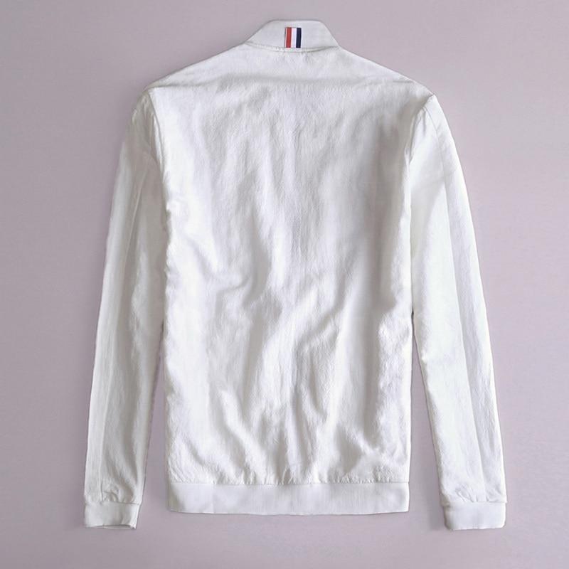 Printemps Automne Italie slim fit veste hommes lin blanc vêtements - Vêtements pour hommes - Photo 2