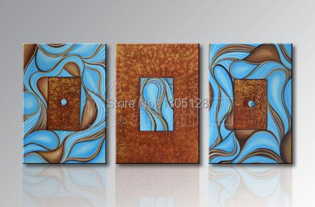 Hot Sale Modern Fashion Abstract Creative Idea Blue Hand Painted Oil