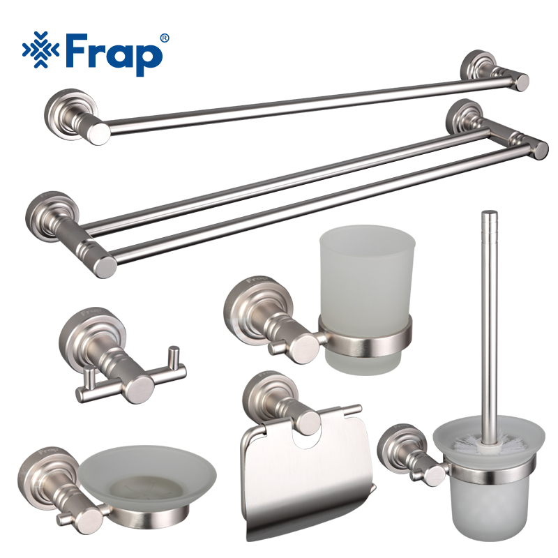 Frap Modern Aluminum Alloy Bathroom Set Chrome Toothbrush Holder And Towel Rack Clothes hook 8 Pieces Bathroom Accessories F37T8 image
