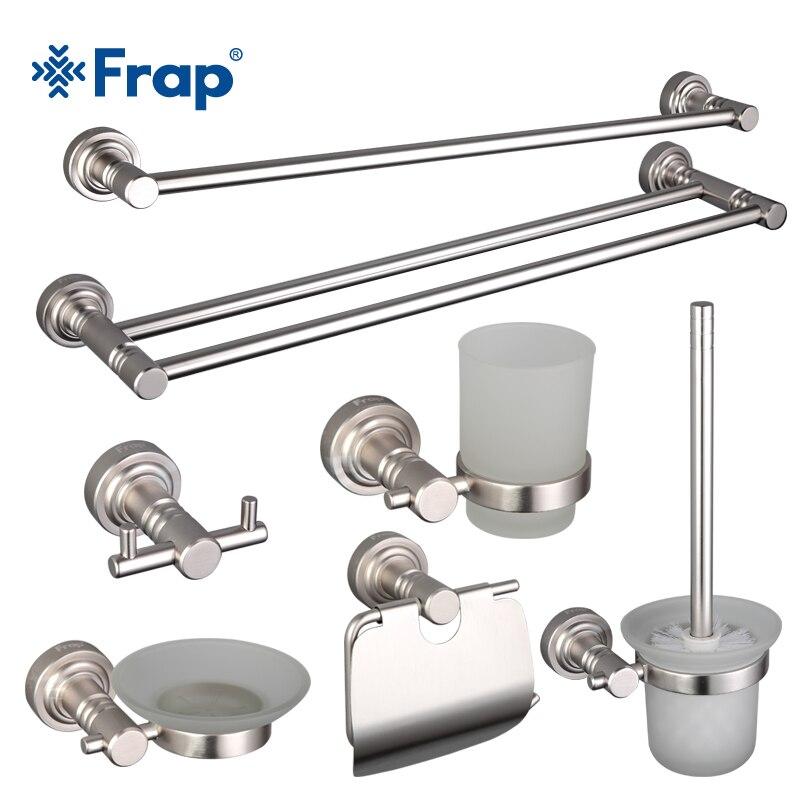 Frap Moderne Aluminium Alloy Badezimmer Set Chrome Zahnbürstenhalter Und  Handtuchhalter Kleiderhaken 8 Stücke Bad Accessoires F37T8