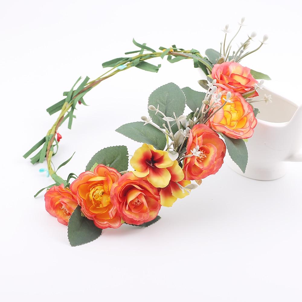 Orange Artificial Flower Headband Festival Wedding Floral Garland Hair Band Girl Headpiece Women Hair Accessories flower garland