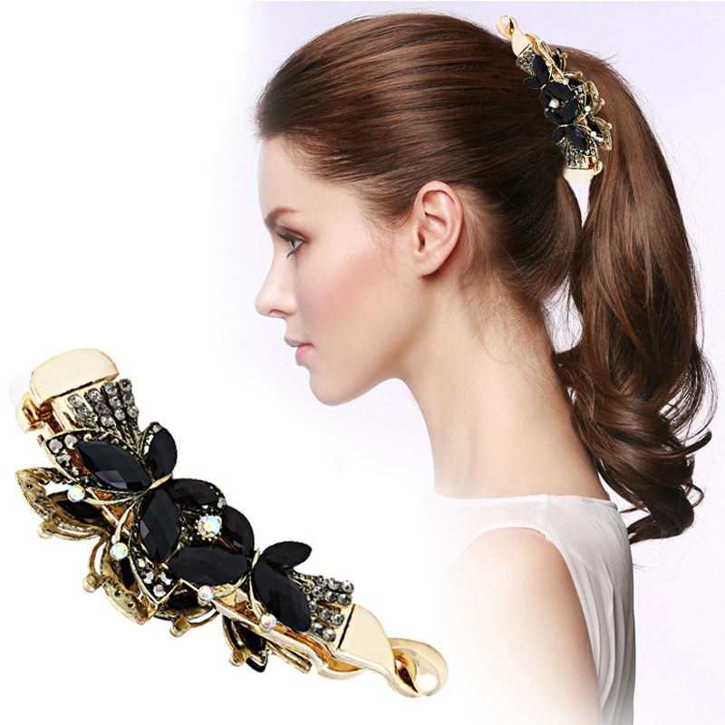 Women Banana Hair Clip Claw Holder Butterfly Resin Hairpin Vintage 108x31mm in Hair Jewelry from Jewelry Accessories