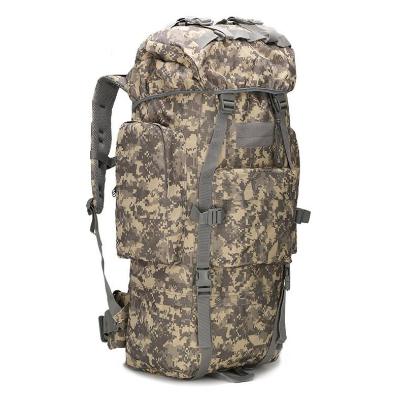 65L Camouflage Military Tactical Backpack With Aluminum Frame With Rain Cover Waterproof Outdoor Camping Backpack 65L Rucksack
