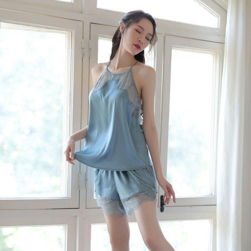 Shorts Hause Service Sleep Sätze Billigverkauf 50% Nachthemd & Bademantel-sets Frauen Sexy Ice Silk Pyjamas Zwei-stück Anzug Strap Nachthemd