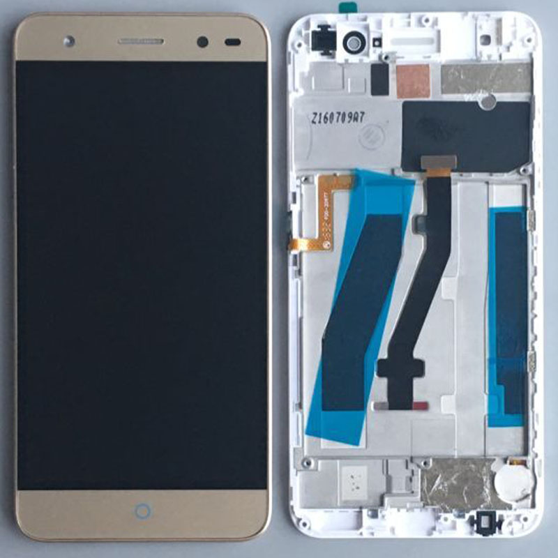 Подробнее о Gold LCD Display Glass Touch Screen Digitizer Assembly+Frame For ZTE Blade V7 Lite Replacement white black for zte blade a610 td lte lcd display touch screen digitizer assembly replacement free shipping