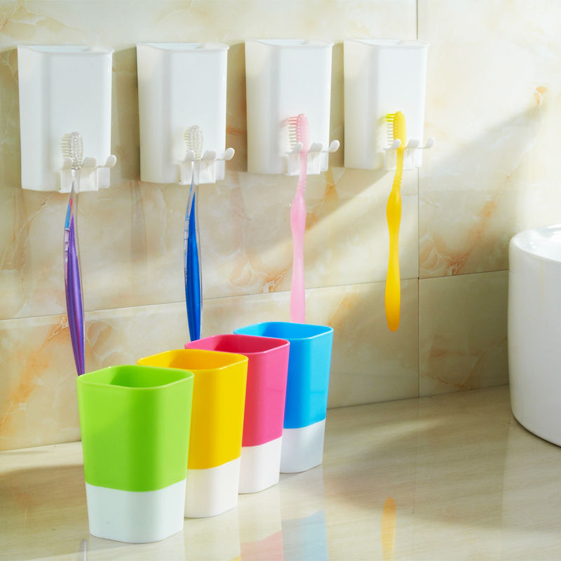 Azerin Wall Mount Paste Snap type Gargle Cup Toothbrush Holder Storage Bathroom Suite Free Shipping