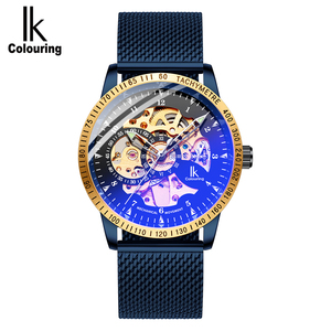 Image 2 - IK Colouring Mens Watches Mesh Braided Stainless Steel Band Automatic Mechanical Male Clock Skeleton Steampunk Relogio Masculino