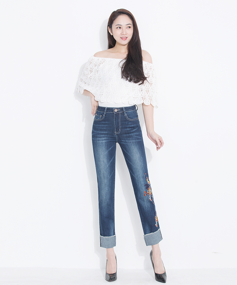 KSTUN Womens Jeans Slim Straight High Waist Quality Brand Summer Embroidered Floral Stretch Cuffs Denim Pants Casual Large Size 11