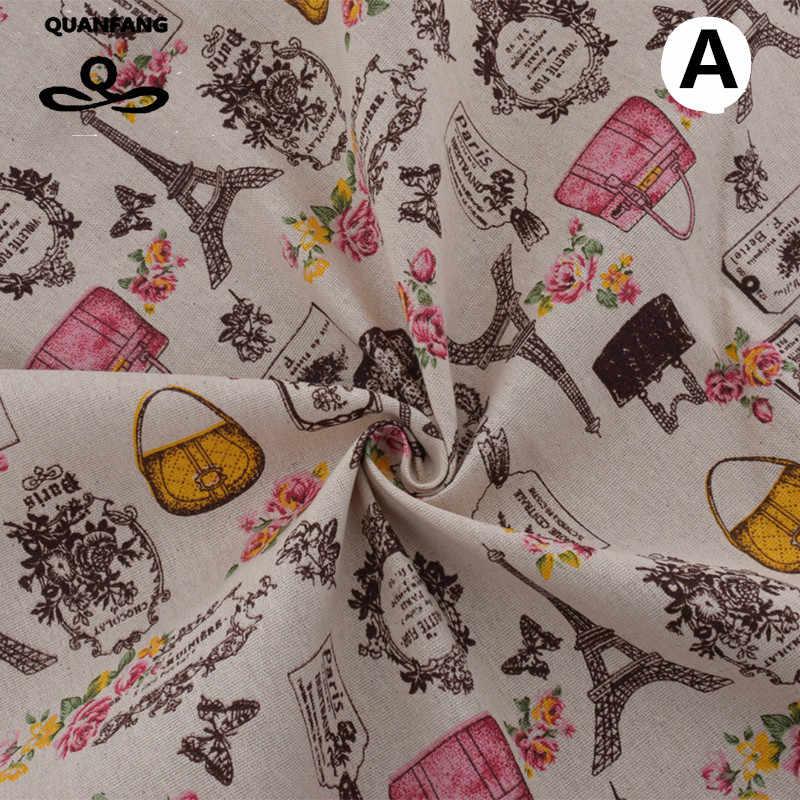 Tela de lino de algodón Patchwork para materiales de costura tejido de costura de almohadón almohada sofá cubierta tela muñecas bolsas telas