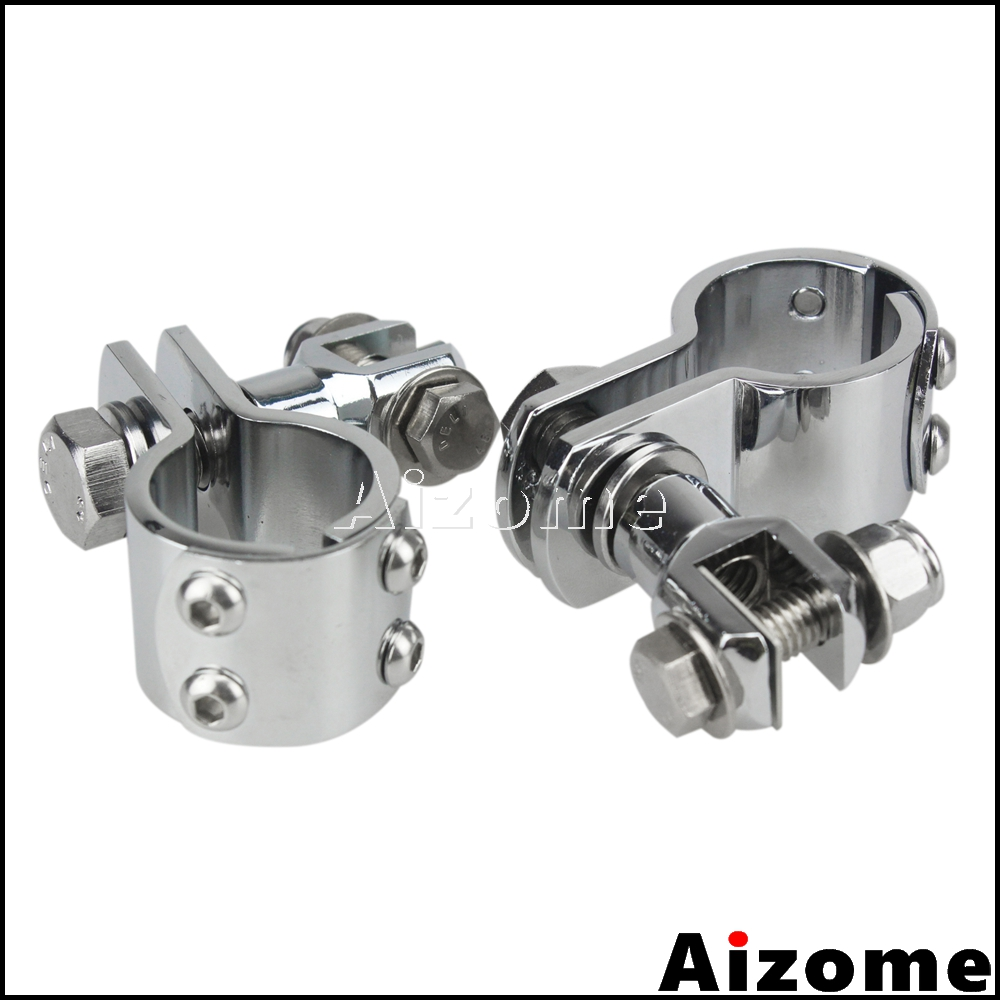 """Chrome Motorcycle 1-1/8"""" 1-1/4"""" Foot Peg Mount Clamp Brackets For Harley Chrome 1-1/2"""" Highway Engine Crash Bar Footrest Clamps"""