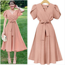 Large Size 5XL Women Dress Summer Casual Tunic Big Swing Dress Plus Size Midi Dresses For Fat MM 4XL 5XL Party vestidos(China)